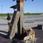 Die neue Skulptur im Fischereihafen von Harlesiel
