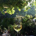 Mikes Bistro: Ein fuchtiges Glas Wein mit Blick herunter auf den Park