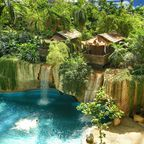 Unterkünfte des Tropical Islands: Lodge-Abenteuer, Waterfall