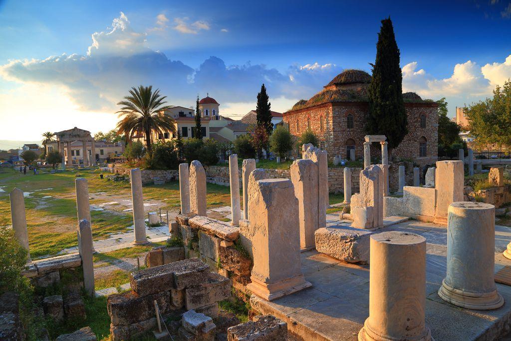 Die römische Agora bei Sonnenuntergang
