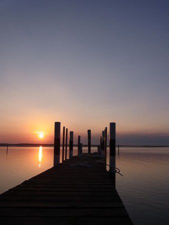 Sonnenuntergang in der Lagune von Bibione