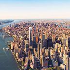 Blick auf Lower Manhattan und den Hudson River