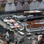 Bergen - Fischmarkt vom Fløyen aus