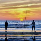 Angeln am Strand von Agadir