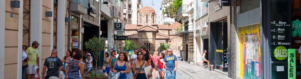 Die Ermou ist eine der zentralen Einkaufsstraßen Athens