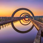 Falkirk Wheel im Sonnenuntergang