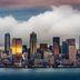 Nächtliche Skyline von Seattle