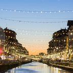 Mailands Canal Naviglio Grande in der Dämmerung