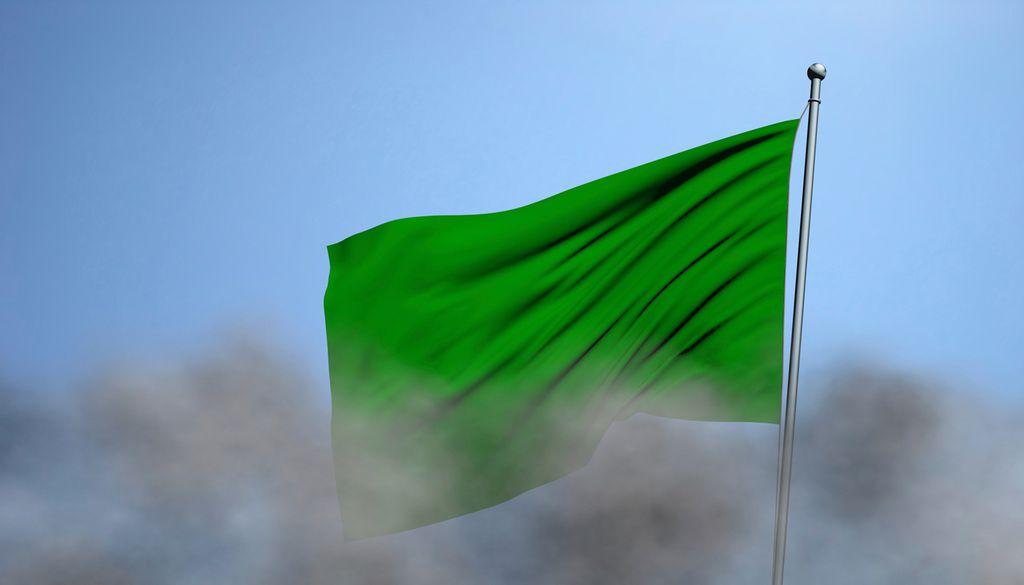 Landesflaggen sind immer mehrfarbig? Nein, die libysche ist nur grün