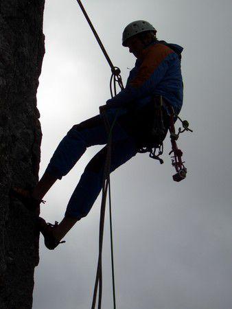 Kletterer in der Abenddämmerung