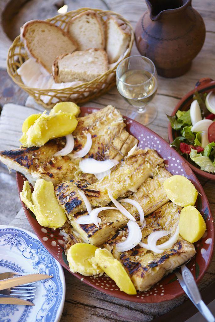 Bacalhau mit Kartoffeln und Zwiebeln