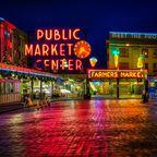 Pike Place Market in der Dämmerung