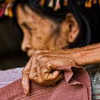Old woman`s hand
