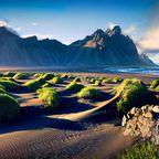 Schwarze Dünen auf der Halbinsel Stokksnes