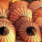 Schirme auf einem Markt in Laos
