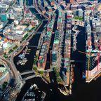 Luftaufnahme der Hamburger Speicherstadt