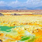 Dallol in Äthiopien gilt als eines der außergewöhnlichsten Geothermalgebiete der Erde