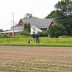 Tareq und Bauer Lars begutachten die Felder
