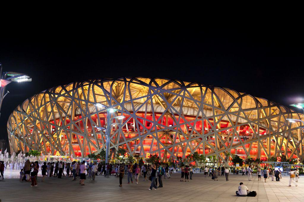 """Das Nationalstadion in Peking wird auch """"Vogelnest"""" genannt."""
