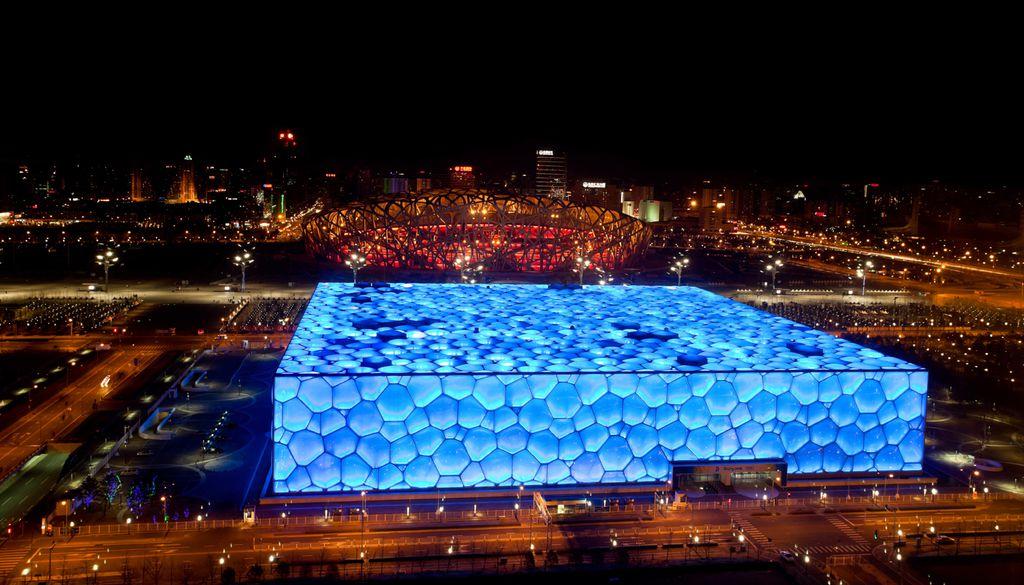 Die Fassade des Water Cubes in Peking zieren viele Wasserblasen