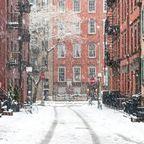 New Yorks Straßen im Schneegestöber