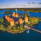 Die spätmittelalterliche Wasserburg Trakai in Litauen
