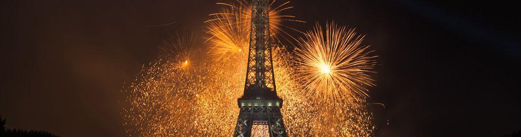 Feuerwerk am 14. Juli, dem französischen Nationalfeiertag