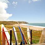 Bunte Surfbretter am Praia do Amado