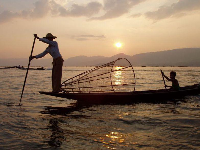 Fischer auf dem Inle