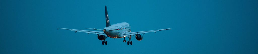 Ein Flugzeug landet bei Liszt Ferenc dem internationalen Flughafen in Budapest