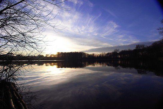 winterlicher Sonnenuntergang am Hücker Moor